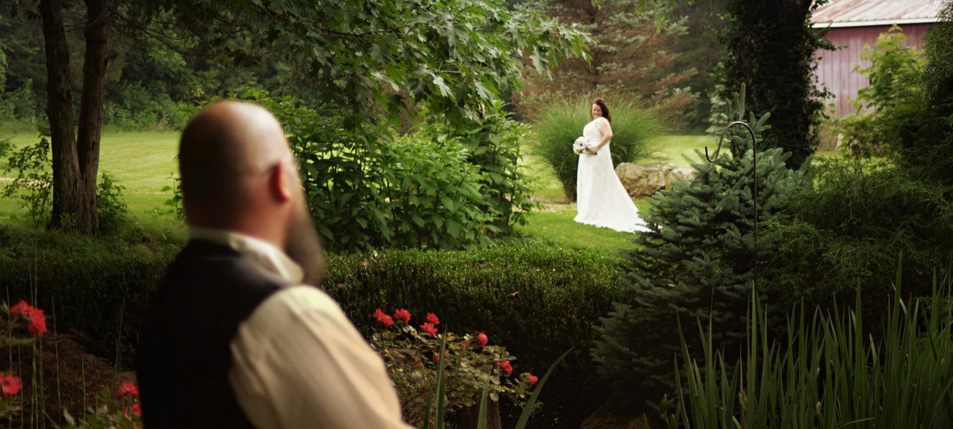 A beautiful scene of a wedding couple at the Old Caledonian B&B