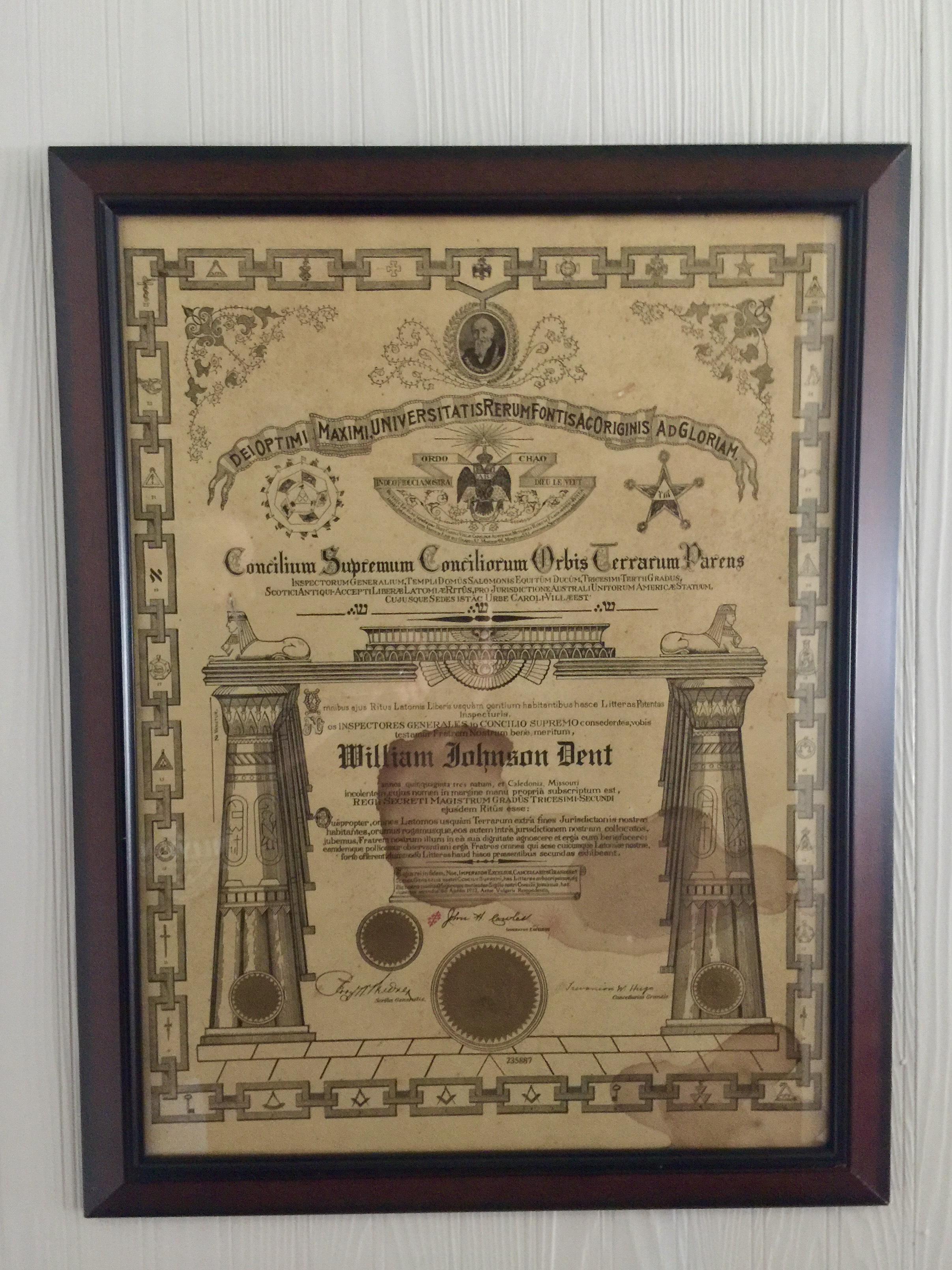 W.J.'s Masonic certificate.