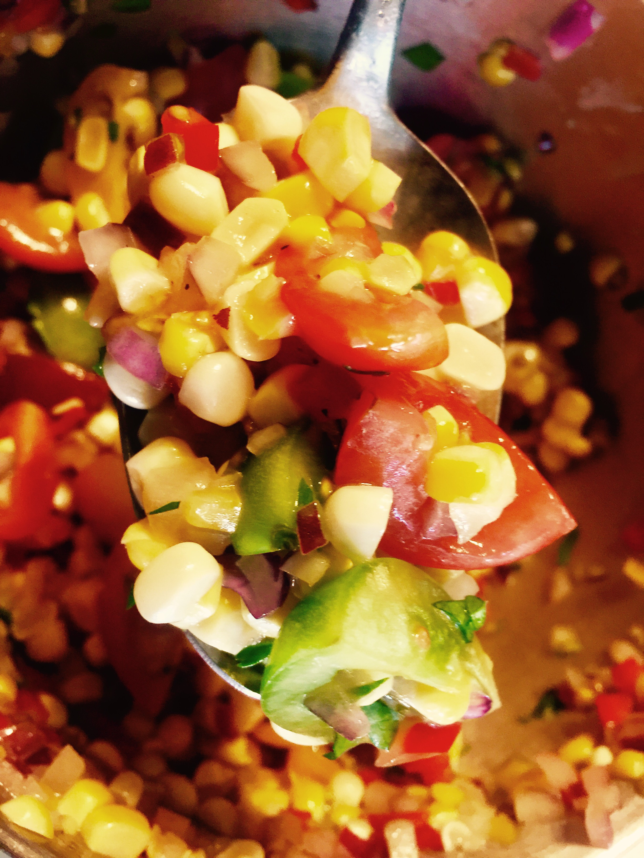 A photo of grilled corn salsa