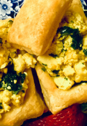 Savory Vol au Vents with spinach scramble
