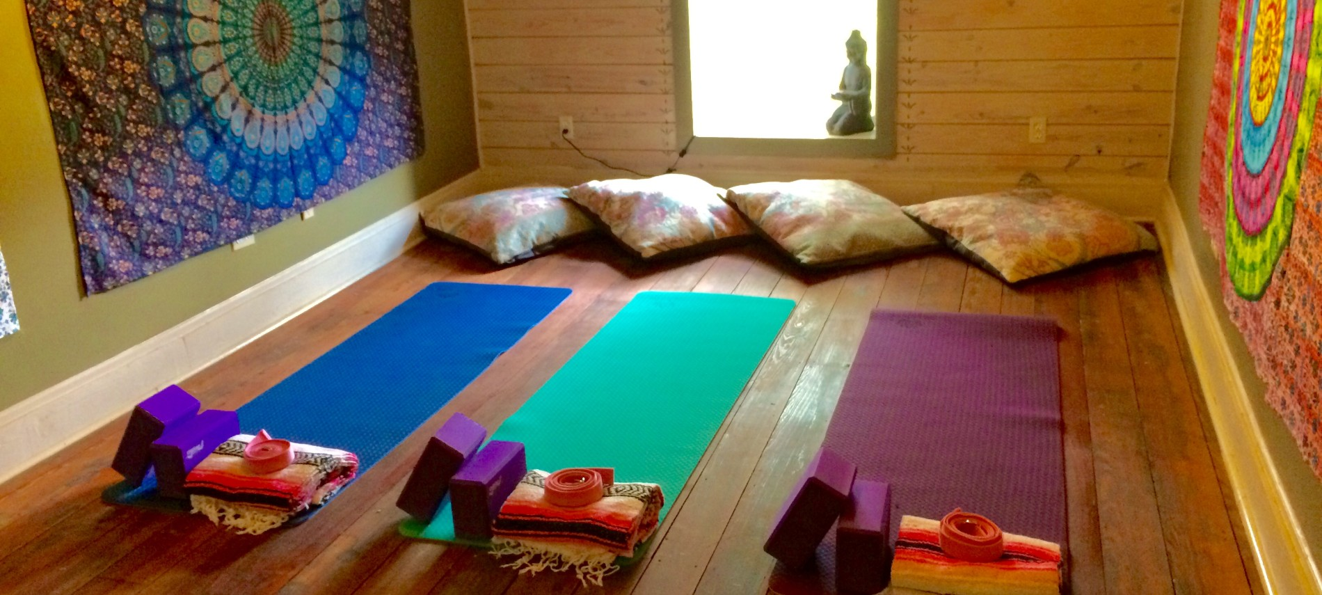 the yoga studio with mats