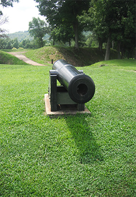 A cannon at the Battle of Pilot Knob State Historic Site