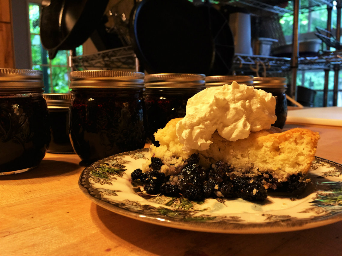 All that work sure made for a sweet payoff. Mulberry cobbler with a sweet biscuit crust and mulberry jam made from mulberries right from our own trees at the Old Caledonian Bed & Breakfast.